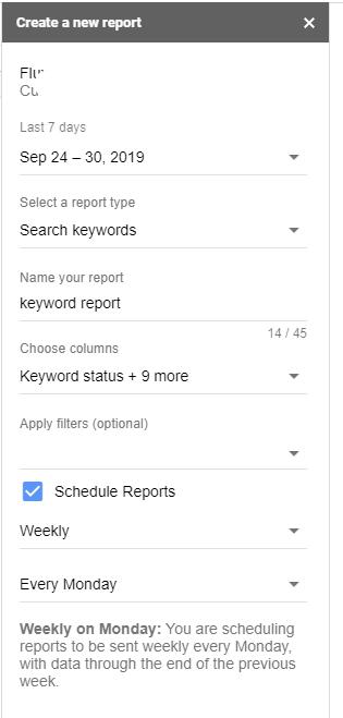 Google ads add-on settings
