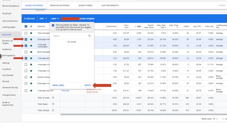Google ads Keyword Lable