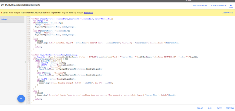 Google ads Automate biding script