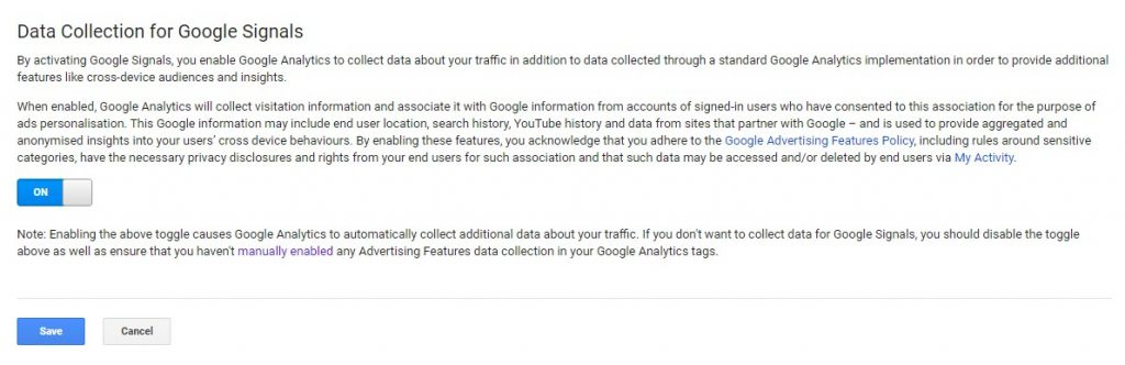 Google Analytics settings panel showing Google Tag Data Collection for Google Signals